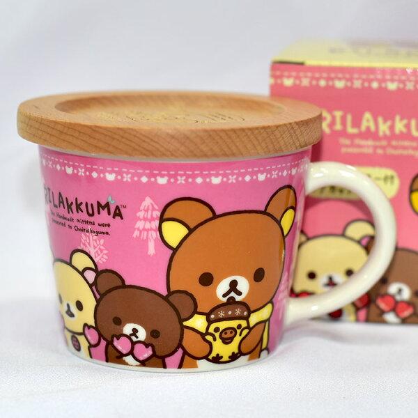 拉拉熊陶瓷馬克杯正版木質杯墊杯蓋懶懶熊San-X