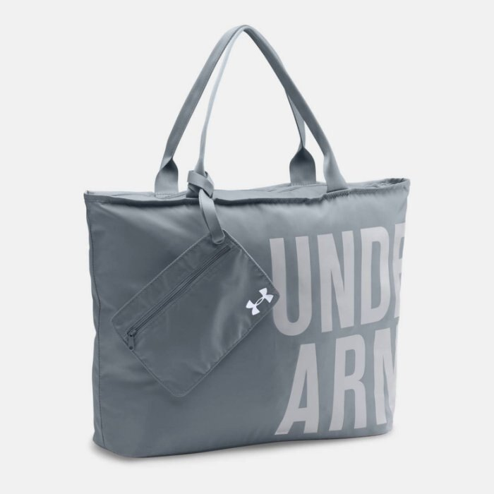 美國百分百【Under Armour】運動時尚 UA Logo 手提袋 肩背包 托特包 瑜珈袋 側背包 灰色 H797