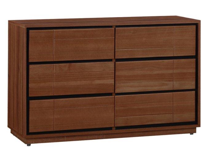 【尚品家具】JF-029-4 杰羅姆3.8尺淺胡桃六斗櫃