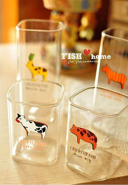 =優生活=韓國雜貨 zakka 小動物玻璃水杯 牛奶杯 麋鹿 豬 乳牛 斑馬