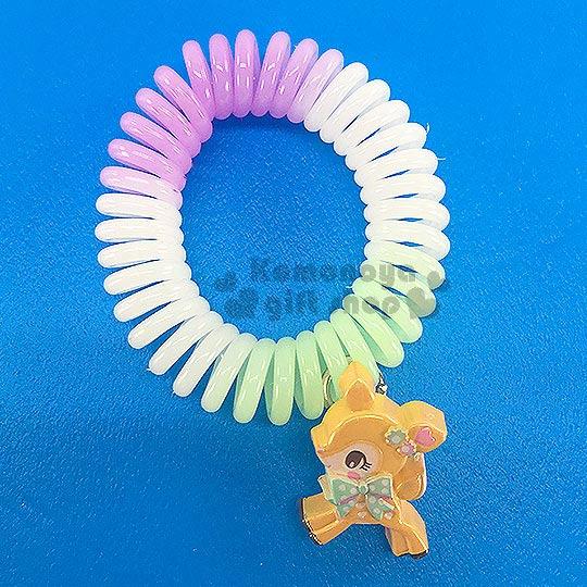 〔小禮堂〕哈妮鹿造型電話線髮束《綠紫白.站姿》髮圈