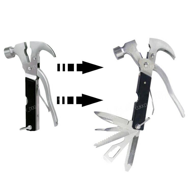 【歐比康】18合1工具鎚 羊角鎚 金屬逃生錘破窗器 車用多功能救生鎚 瑞士刀