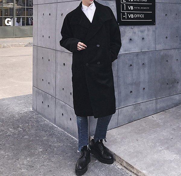 FINDSENSEG6韓國時尚男士毛呢大衣青年中長款毛呢外套加厚羊毛风衣