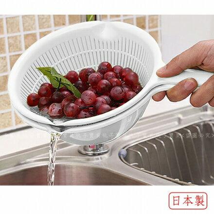 【日本SANADA】SEIKO 單柄球型蔬果清洗籃/洗米盆(白色)~20cm‧日本製?桃子寶貝?