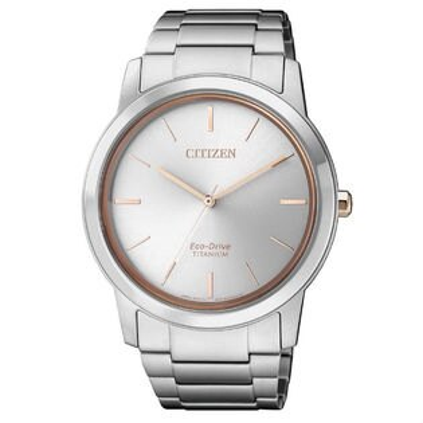 大高雄鐘錶城:CITIZEN星辰錶AW2024-81A+FE7024-84A簡約光動能時尚鈦金屬腕錶白面40+34mm