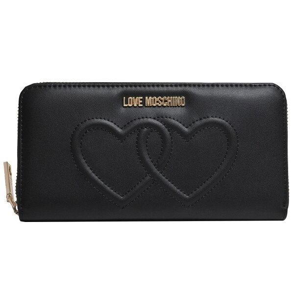 LoveMoschino金色字母LOGO壓印雙愛心圖騰拉鍊機能長夾(黑紅)