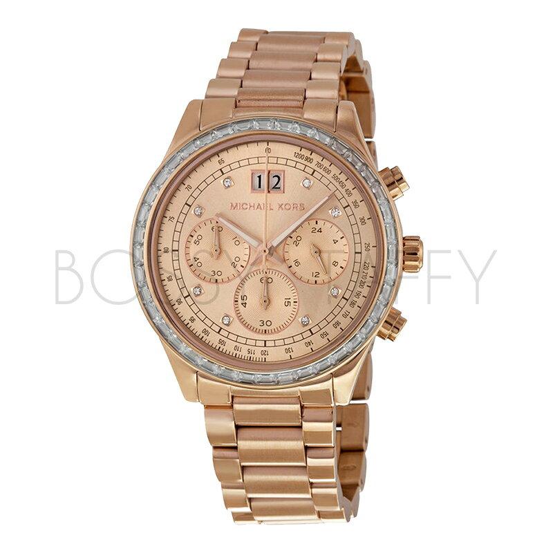 MK6204 MICHAEL KORS 經典玫瑰金精鋼錶帶腕錶 三眼女錶