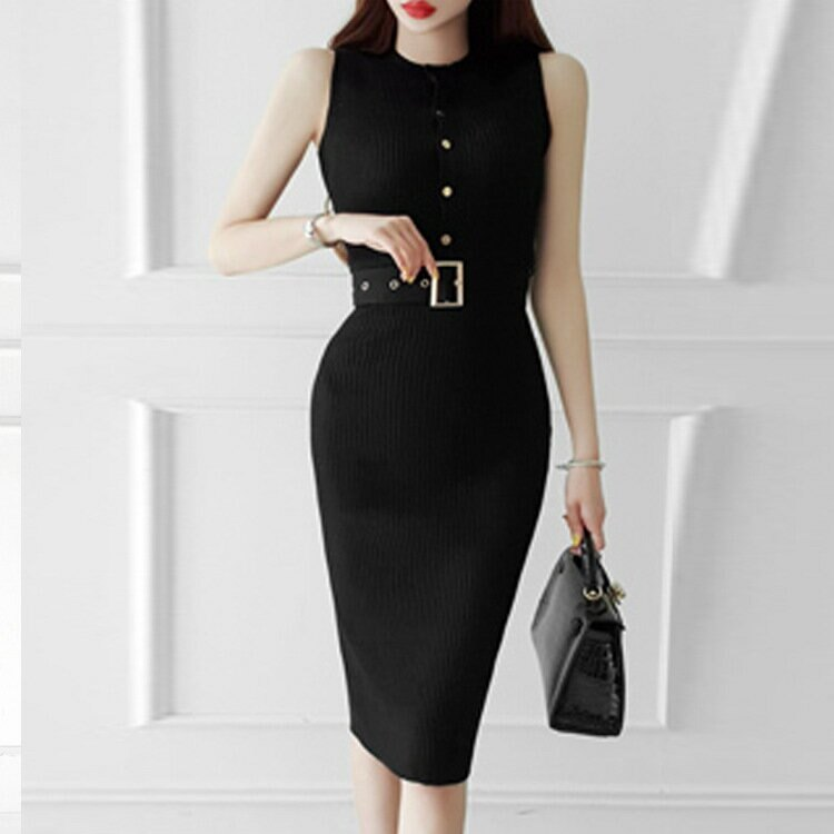 針織連衣裙女夏2021新款韓版背心性感吊帶修身顯瘦打底包臀裙子女