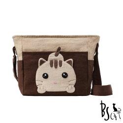 【ABS貝斯貓】可愛貓咪拼布 肩背包 斜揹包(咖啡色88-206) 【威奇包仔通】