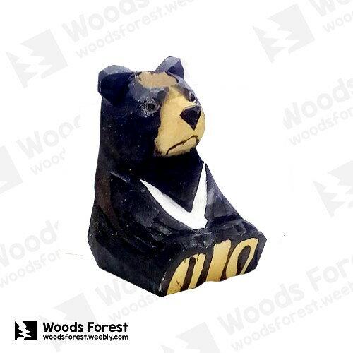 【台灣黑熊】木雕筆專用筆座 (單孔)