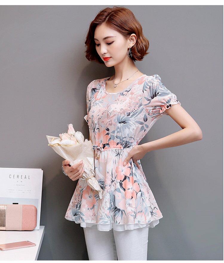 FINDSENSE G5 韓國時尚 新款 女裝 碎花 短袖 雪紡衫 女 上衣