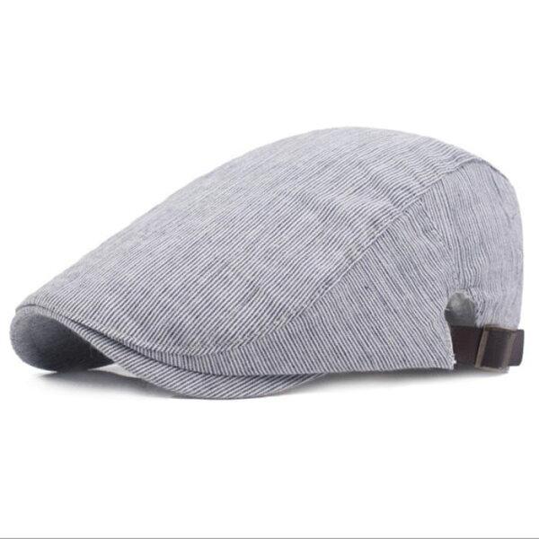 糖衣子輕鬆購【BA0019】韓版純棉百搭條紋貝雷帽鴨舌帽平底帽遮陽帽薄款休閒帽子