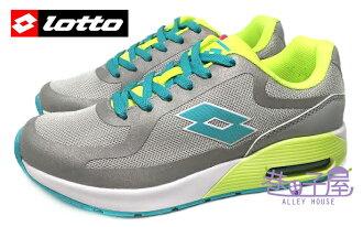 【巷子屋】義大利第一品牌-LOTTO樂得 小蠻熱情推薦復古甜心款 女款3D蜂巢透氣氣墊慢跑鞋 [2478] 灰螢光綠 超值價$690