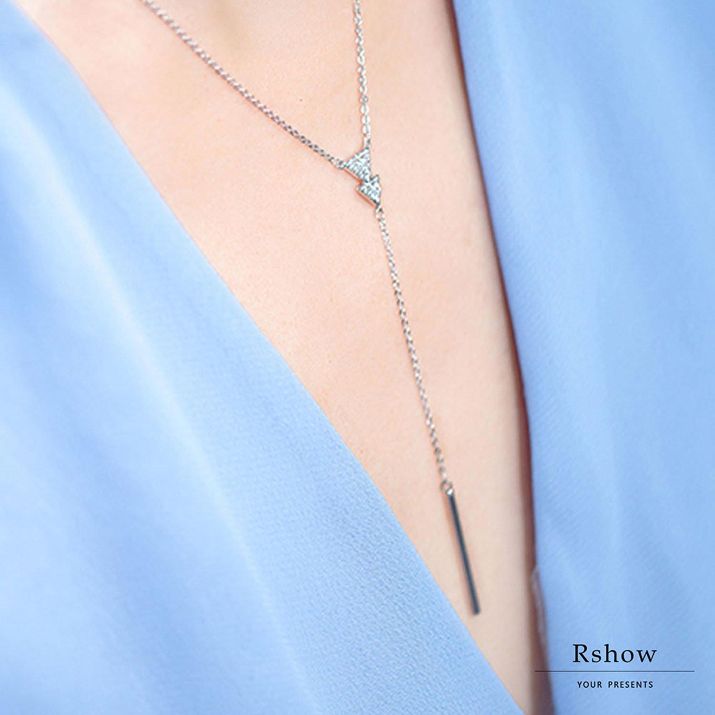 【Rshow】Minimal 簡約三角形 Y字垂墜鎖骨鍊 0
