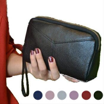 【喜番屋】真皮頭層牛皮女士可裝6吋手機皮夾皮包錢夾零錢包手拿包手機包手包女包女夾LH394