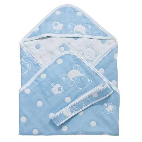 Baby City娃娃城 - 六層紗包巾(藍) 0