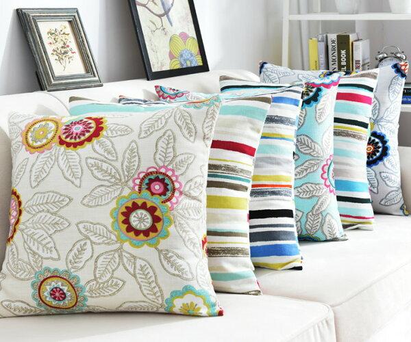 麻吉小舖:45*45美式田園小清新居家抱枕套沙發靠墊花朵線條靠枕套