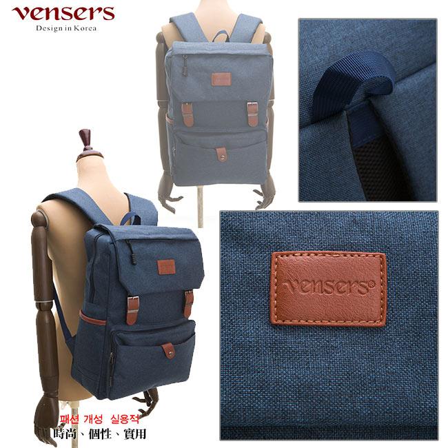 【vensers】簡約丹寧牛仔後背包(R00064101寶藍) 3