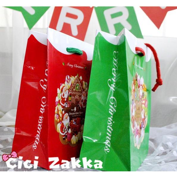 【嚴選SHOP】日本訂製款聖誕小紙袋 亮面甜品袋 禮盒袋 購物袋 手提袋 蛋糕袋 時尚袋 交換禮物 包裝送禮【X023】