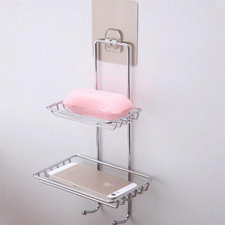 無痕貼系列 雙層香皂架 掛勾 吊鉤 肥皂架 香皂盤 肥皂盤 置物盒 瀝水 浴室 不鏽鋼 壁