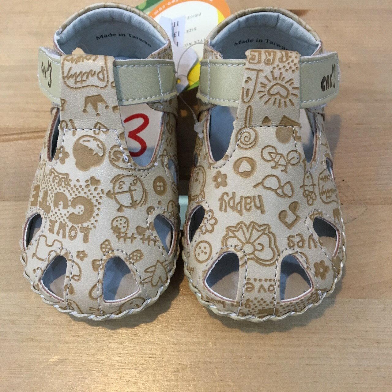 【禾宜精品】五折學步鞋 壓紋 米色 真皮鞋墊 天鵝 CHA CHA TWO 涼鞋 手工鞋 寶寶 台灣製造 童鞋