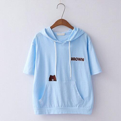 *ORead*簡約刺繡寬鬆棉質套頭連帽短袖T恤(4色F碼) 0