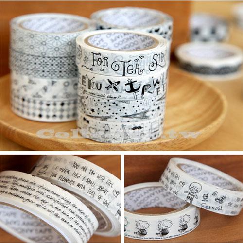 【L14120604】清新創意黑白膠帶 DIY卡通膠帶 DIY相冊配件日記本裝飾貼 10米