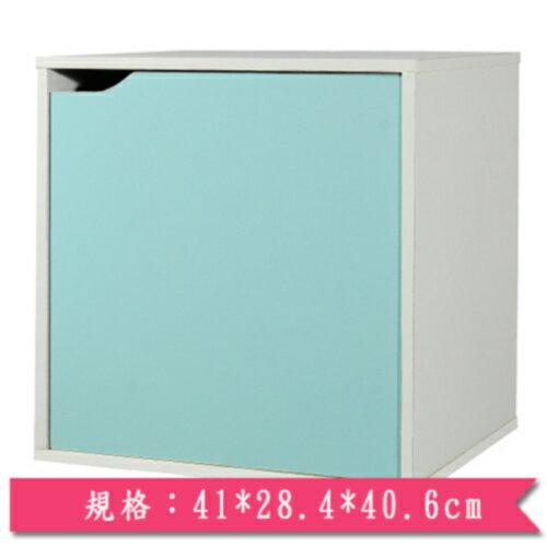 魔術方塊單門收納櫃-藍【愛買】
