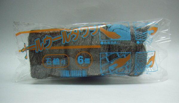日本進口強效去污鋼絲皂刷組附洗劑(1包6入) 強力去污鋼絲絨球 神奇強力鋼絲刷