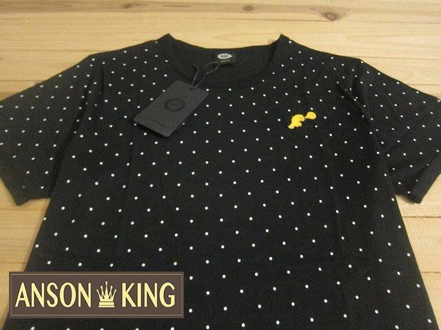[Anson king]outlet國外代購 agnes b.sport b 小恐龍 圓點 短袖 圓領 男款 T恤 黑 - 限時優惠好康折扣