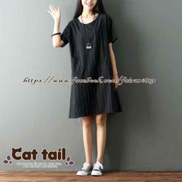 《貓尾巴》TS-0040 文藝復古條紋短袖連身裙(森林系 日系 棉麻 文青 清新)