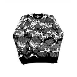 【KENZO】塗鴉長袖上衣(黑白) F655PU2293CL 99