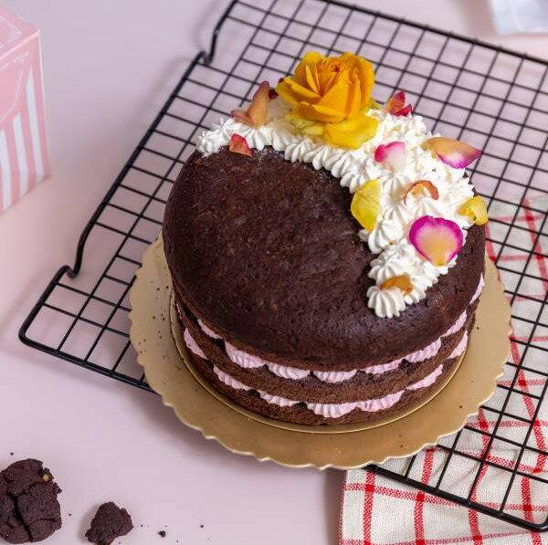 【甜野新星-甜點專賣店】母親節蛋糕 生日蛋糕 - 巧月莢馨(覆盆莓、玫瑰花瓣)
