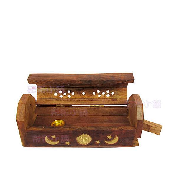 【彤彤小舖】印度手工 線香&香塔盒 二合一原木色有蓋線香盒 香塔盒(小盒)- 可適用Gonesh香塔