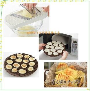 asdfkitty可愛家☆日本AKEBONO波浪馬鈴薯片切片器含微波盤-洋芋片-低油低熱量-日本製