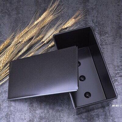 烘焙具匠 黑色不沾有蓋吐司模 底部有洞 長方形帶滑蓋麵包模具 450g土司盒