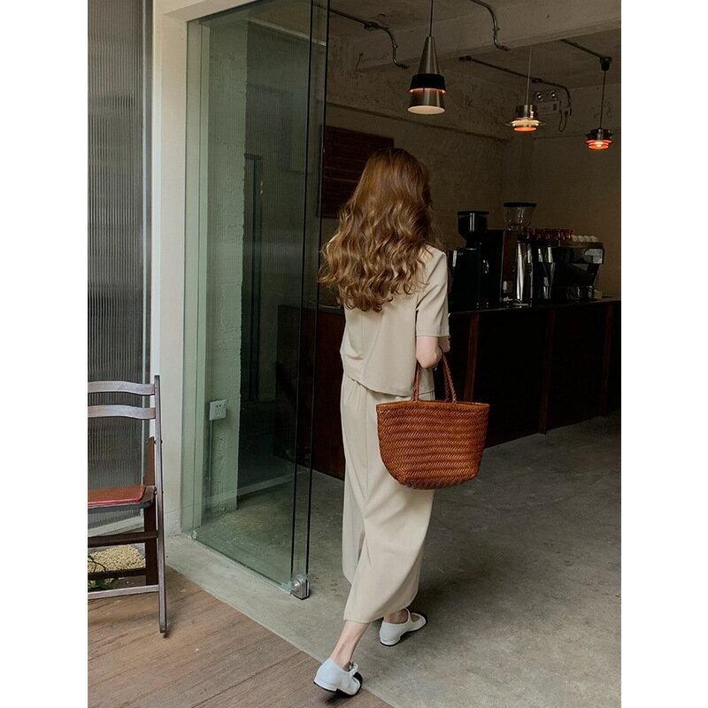 高腰開叉長裙套裝女2021夏季新款氣質V領短款西裝兩件套