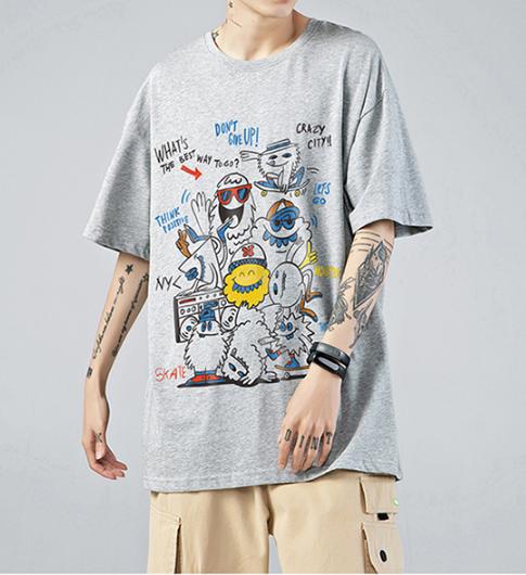 FINDSENSE X  男生日系漫畫涂鴉寬松短袖T恤寬鬆短袖T恤