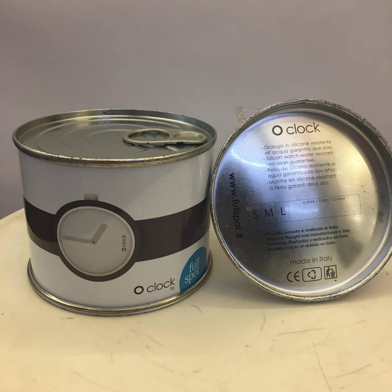 下殺5折 BEETLE O'CLOCK O CLOCK FULLSPOT 義大利 防水 矽膠 罐頭 可拆 手錶 米色 M 1