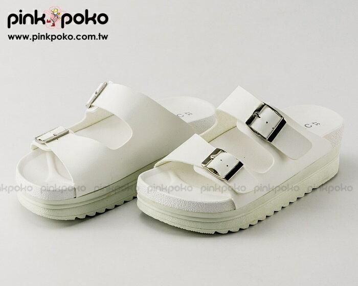 拖鞋 ~PINKPOKO粉紅波可~簡約寬版雙釦環皮質休閒厚底拖鞋^~2色 ^#1644