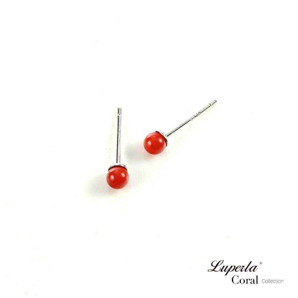 大東山珠寶 天然全紅沙丁珊瑚3-4mm針式貼耳耳環 2