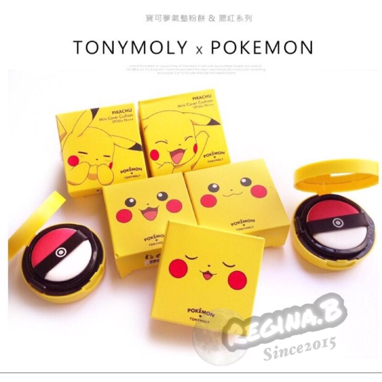 韓國直郵正品 TONYMOLYx Pokemon 皮卡丘 寶可夢 神奇寶貝 BB氣墊 雙 粉底 粉餅 粉撲 寶貝球 潤色