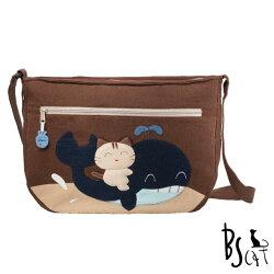 【ABS貝斯貓】可愛貓咪拼布 肩背包 斜揹包(咖啡色88-214) 【威奇包仔通】