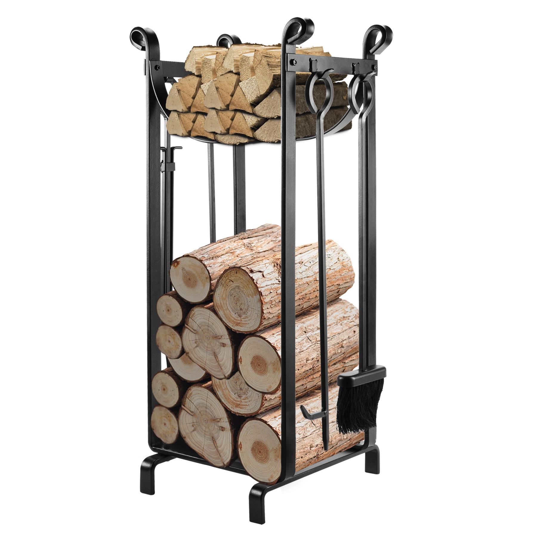 Banyan Imports Fireplace Log Rack With 4 Tools Firewood Storage