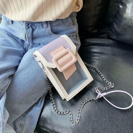 斜背包手機包 夏天透明小包包女包2020流行新款潮時尚迷你鍊條斜背包包百搭手機包『LM2151』