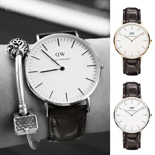 【Cadiz】瑞典正品 Daniel Wellington 手錶 0111DW玫瑰金 0211DW銀色 CLASSIC YORK 深棕色鱷魚皮革 40mm 對錶 情侶錶 男女錶 兩年保固