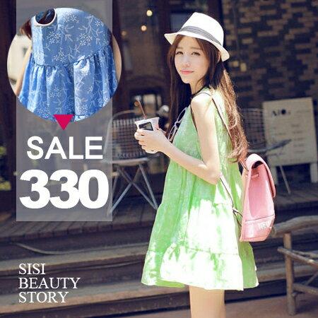 SISI~D6055~活力小清新圓領寬鬆無袖大裙襬印花背心連身裙高腰蛋糕層次洋裝