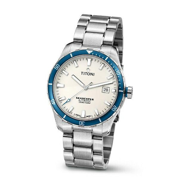 TITONI瑞士梅花錶83985SBB-516 Seascoper系列專業潛水機械腕錶/白面41mm