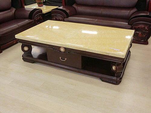 【尚品家具】232-02 玉如意 豪華6尺天然黃水晶石面茶几組客廳桌
