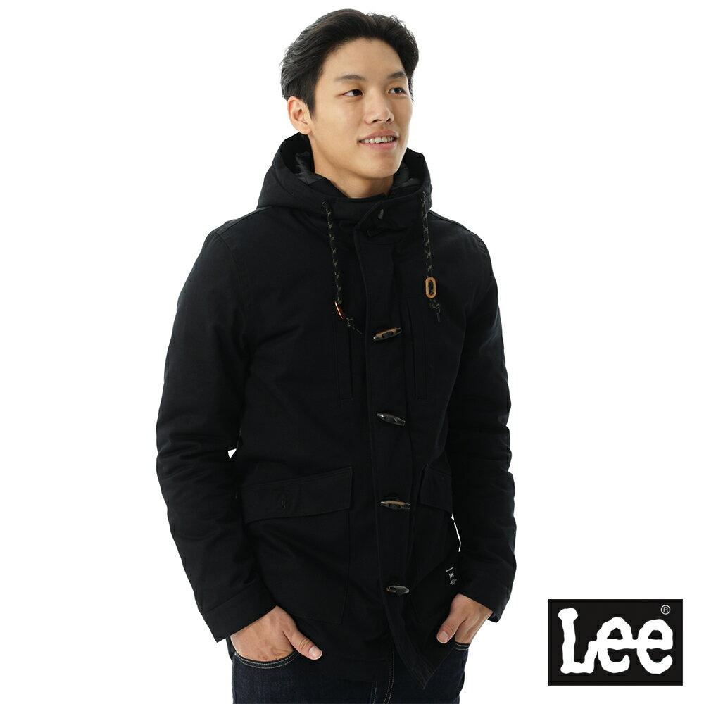 Lee 連帽長版牛角釦舖棉外套